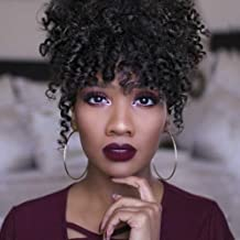 KRSI High Puff Afro Ponytail Drawstring With Bangs Short Kinky Curly Hair Bun Clip in on Wrap Updo Hair Extensions for African American Women