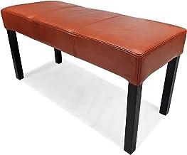 Brązowa 100% prawdziwa skóra ławka skórzana taboret siedzisko ławka tapicerowana skóra bydlęca skóra antyczny tytoń (75x40...