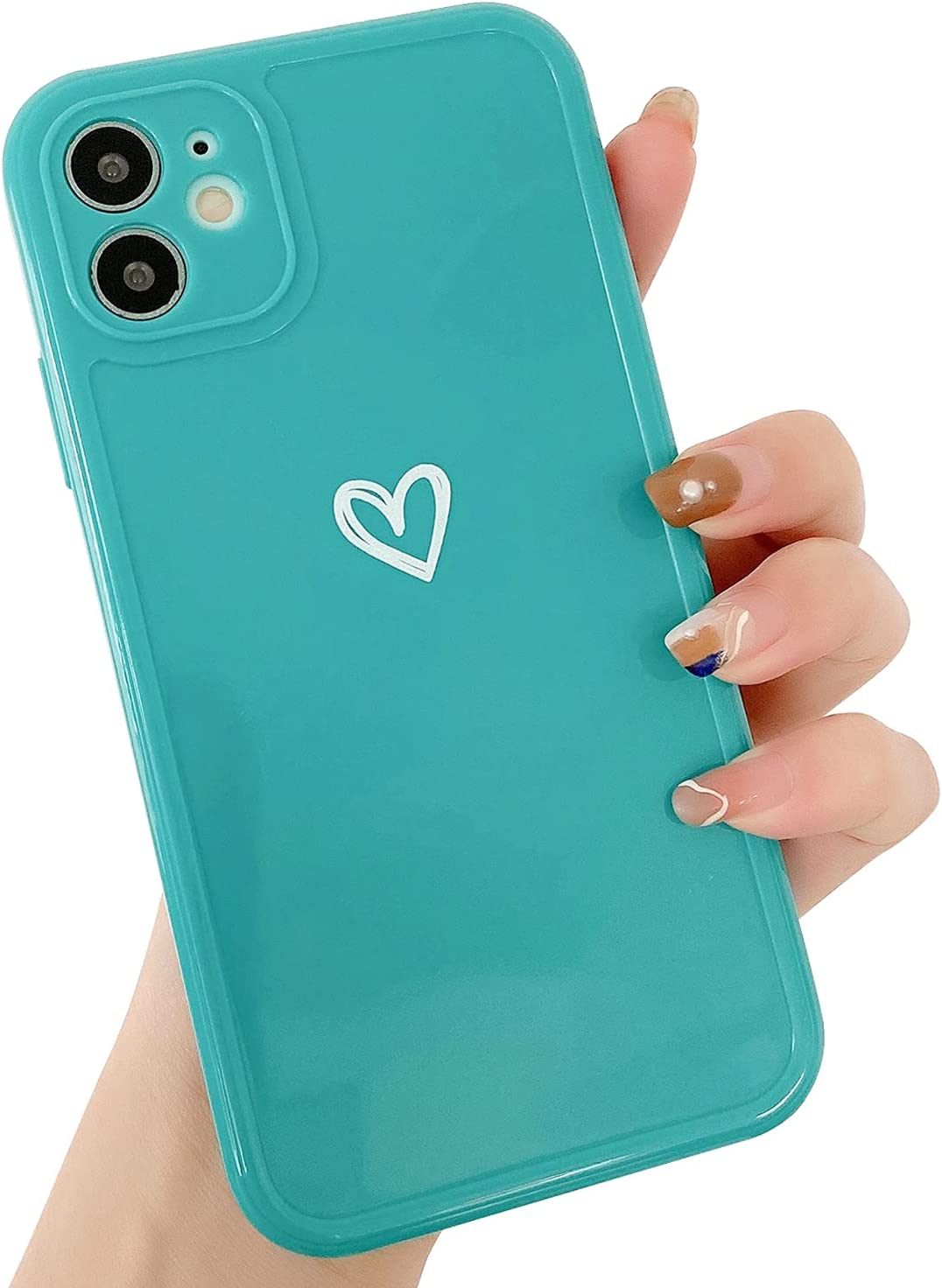 """Compatible with iPhone 11 Case for Women Girls, Cute Love Heart Pattern Soft Slim TPU Protective Bumper Phone Case for iPhone 11 6.1""""-Green"""