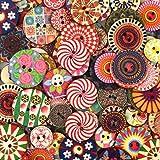 Chstarina 100 Pezzi Bottoni in Legno Rotondo Bottoni Vintage Bottoni Colorati Colore e Dimensioni Misti 2 Fori Bottoni Decorativi per Cucito Fai da Te Artigianato Decorare Scrapbooking 20 mm