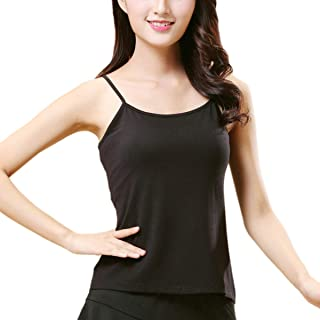 Premium Black Spaghetti Strap Tank top for Girls Womens Dance Yoga Sports Stretchy Casual Slim fit
