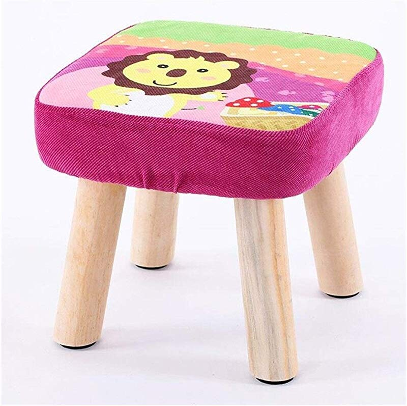 Carl Artbay Wooden Footstool Lion Pattern Square Stool Small Bench Shoe Short Stool Solid Wood Fabric Home