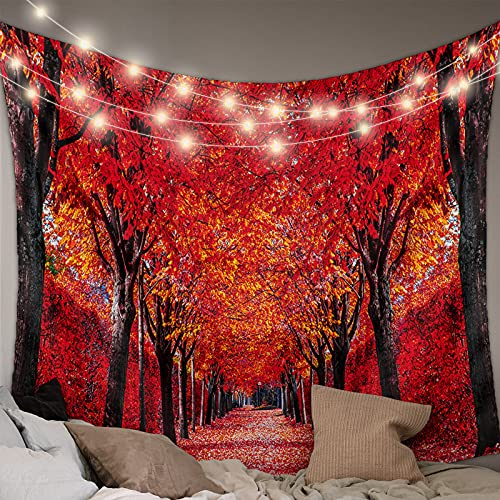 Wall Hanging Bedding Tapestry Thanksgiving Romantic Autumn Red Fallen Leaves Dreamy Forest Road Tapestry Wall Decor Blanket Bedspread Picnic Sheet Room Dorm Home Decor-