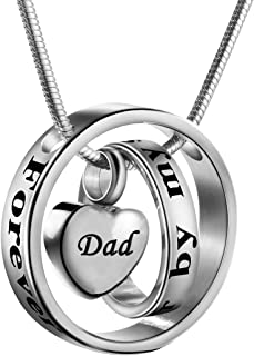 Cremation Jewelry No Longer by My Side, Forever in My Heart Carved Locket Memorial Necklace Keepsake Urn Pendant