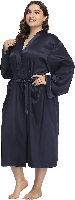 iFigure Women's Plus Size Satin Robe Long Bathrobes Dressing Gow