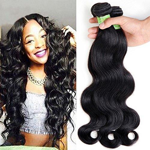 "GoldenRuleVirginBrazilianHairBodyWave4Bundles6AUnprocessedHumanHairExtensionsRemy Hair Weave Natural Color Mix Length (18"" 20"" 22"" 24"")"
