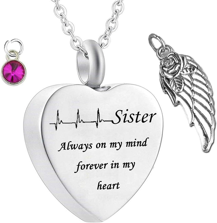 Amody Colgante Cenizas Acero Inoxidable Corazón Sister Always on My Mind Forever in My Heart con Piedra de Nacimiento de ala Colgantes de Cenizas Colgante Urna Cenizas Hombre Mujer