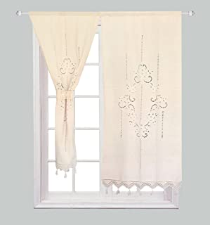 ZHH Handmade Cotton and Linen Crochet Lace Curtain Hollow Flower Curtain 27 by 59-Inch(One Piece), Beige