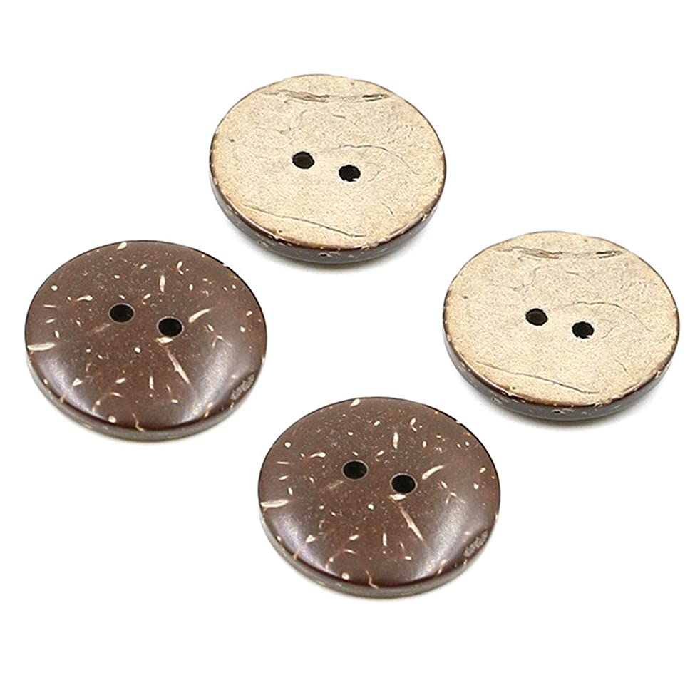 Numblartd 100Pcs Brown Natural Coconut Shell Round Buttons - DIY Handmade Decor Craft Scrapbooking Clothes Sewing Supplies Accessories (25mm / 1