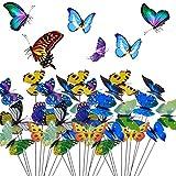 BETOY 30 pcs Estacas de Mariposas Jardín Colorido Mariposas Adornos para Patio Fiesta de Planta - Diseño de Hada del jardín en Miniatura para decoración de jardín, Patio, Flores