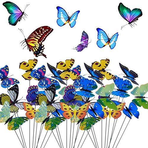 BETOY 20 pcs Garten Schmetterlinge Stangen Stecker, Bunte Garten Schmetterlinge Patio Ornamente auf Stöcke für Pflanzendekoration Dekoration Hof Patio Party Dekorationen