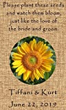 Wedding Wildflower Seed Packet Favors 100 qty. Personalized-Burlap Sunflower Design 6 verses to choose