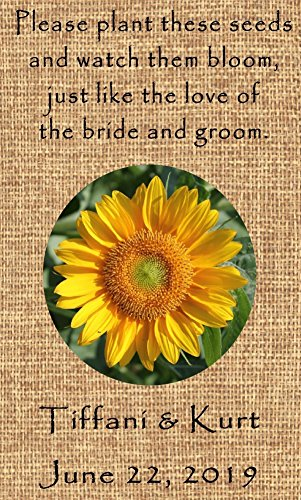 Wedding Favor Wildflower Seed Packets Personalized Burlap Sunflower Design 6 verses to choose Set of 100