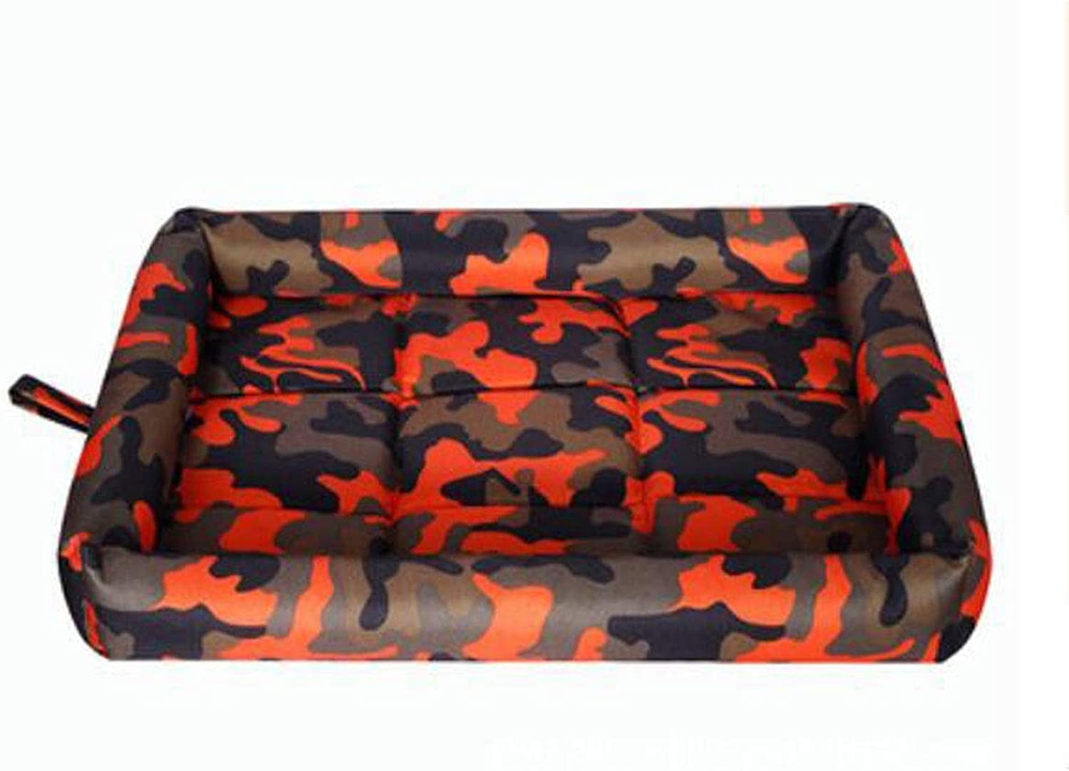 Dog Bed, Spring Large and Medium Dog Orthopedic Sleeping Bed, Can Be Placed On The Floor Car Dog Cage, Camouflage bluee, Camouflage orange, Camouflage Red XXL (color   Camouflage orange, Size   M)