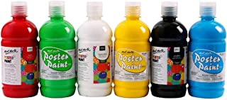 Mont Marte Tempera Paints Set for Kids (16.67oz/500ml), 6 Vibrant Colours for Arts, Crafts and Posters