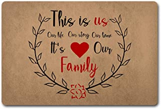 Red Forest Arts Welcome Door Mat This is Us Doormat It's Our Family Our Life Our Story Door Mats Funny Door Rugs 40X60cm N...
