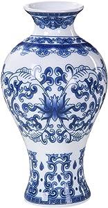 Vintage estilo chino azul y blanco Jarrón de porcelana cerámica Mini jarrón para decoración del hogar