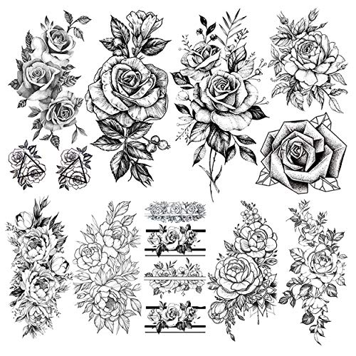 LAROI 9 Feuilles Autocollants De Tatouage éphémère Fleurs Grand Réalistes Pivoine Femme Bras Imperméable Tatouages Temporaires Lavable Tatouages Rose Adultes Temporaires Faux Bijoux Filles Tattoos
