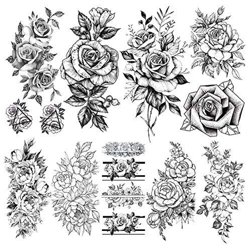 LAROI 9 Hojas Flor Realista Peonía Tatuajes Temporales Pegatinas Muje
