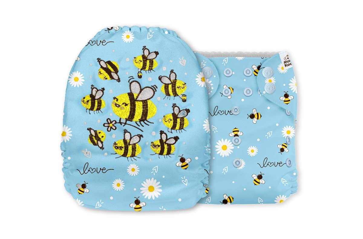 Mama Koala Embroidery One Size Baby Washable Reusable Pocket Cloth Diaper with 1 One Size Microfiber Insert (35408)