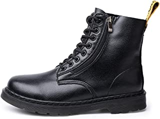 Dr. Martin unisex boots Side zipper men's boots British style couple short boots men's and women's boots round head trend waterproof and wear-resistant (Color : Black, Size : 46)