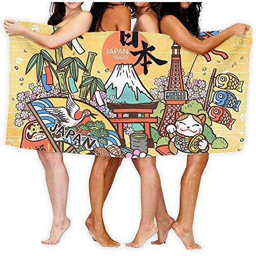 Niet van toepassing Japan Land Naam en Fortuin in het Japans Op De Unisex Badhanddoek Volwassen Zachte Microvezel Gedrukt Strand Handdoeken Reizen Handdoek