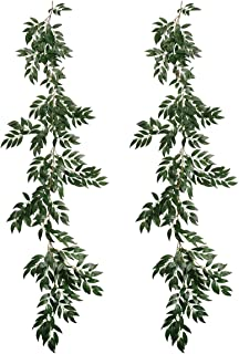 Pauwer 2 Pack Artificial Willow Leaves Vine Silk Fake Hanging Greenery Garland Willow Twigs Plant Foliage for Wedding Party Wreath Wall Indoor Outdoor Decor(A)