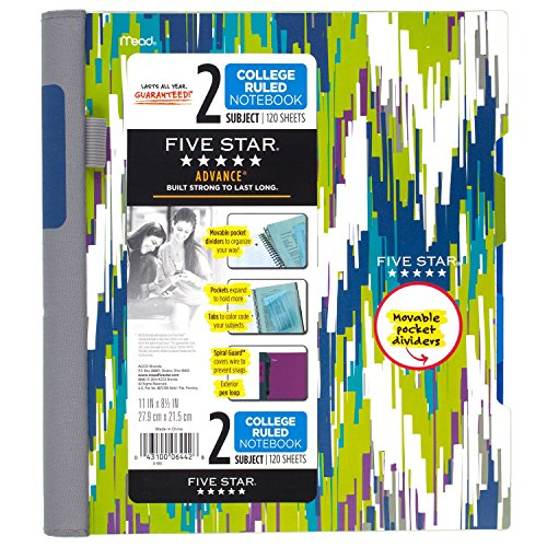 "Five Star Advance Spiral Notebook, 2 Subject, College Ruled Paper, 120 Sheets, 11"" x 8-1/2"", Chevron Design (73838)"