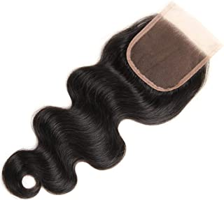 DRESSMAKER 7A Grade Free Part 4x4 Body Wave Human Hair Lace Closure Piece with Baby Hair Natural Black Color (4 X 4 Closur...