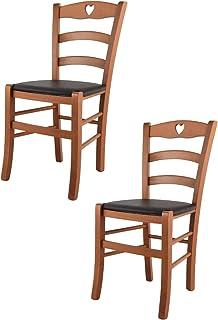 t m c s Tommychairs - Set 2 sillas Cuore para Cocina y Comedor, Estructura en Madera de Haya Color Cerezo y Asiento tapizado en Polipiel Color Moka