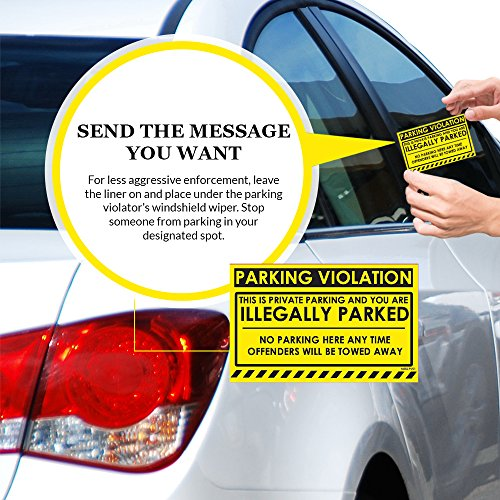 """No Parking Violation Stickers Hard to Remove (Yellow) 10-Pack Illegal Parking Warnings and Towing Tags for Illegally Parked Vehicles in Your Lot – Super Sticky Car Permit Notices 8"""" x 5"""" by MESS Photo #4"""