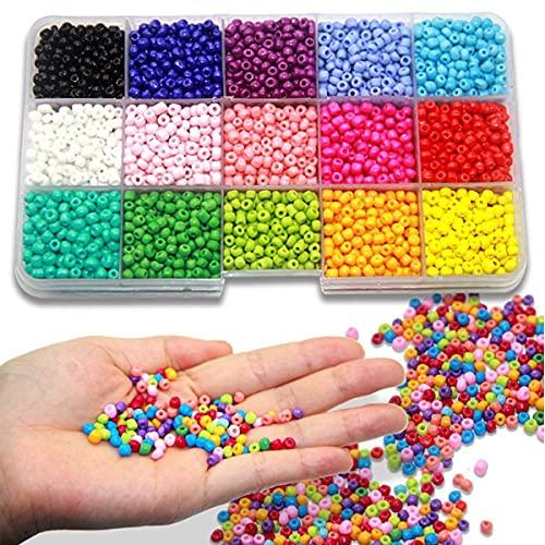HJCZ 7000 piezas pequeñas de cuentas de cristal con letras y cuentas de letras de colores opacos para hacer joyas, encontrar arte, manualidades, decoración de joyería, 3 mm redondo (color: estilo 1)