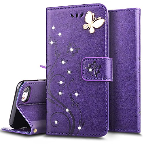 Ukayfe Custodia Cover per iPhone 6/6s Plus, Protettiva Flip Portafoglio Copertura Case e Porta Carte di Credito in PU Pelle Supporto Stand con Chiusura Magnetica per iPhone 6/6s Plus-Purple
