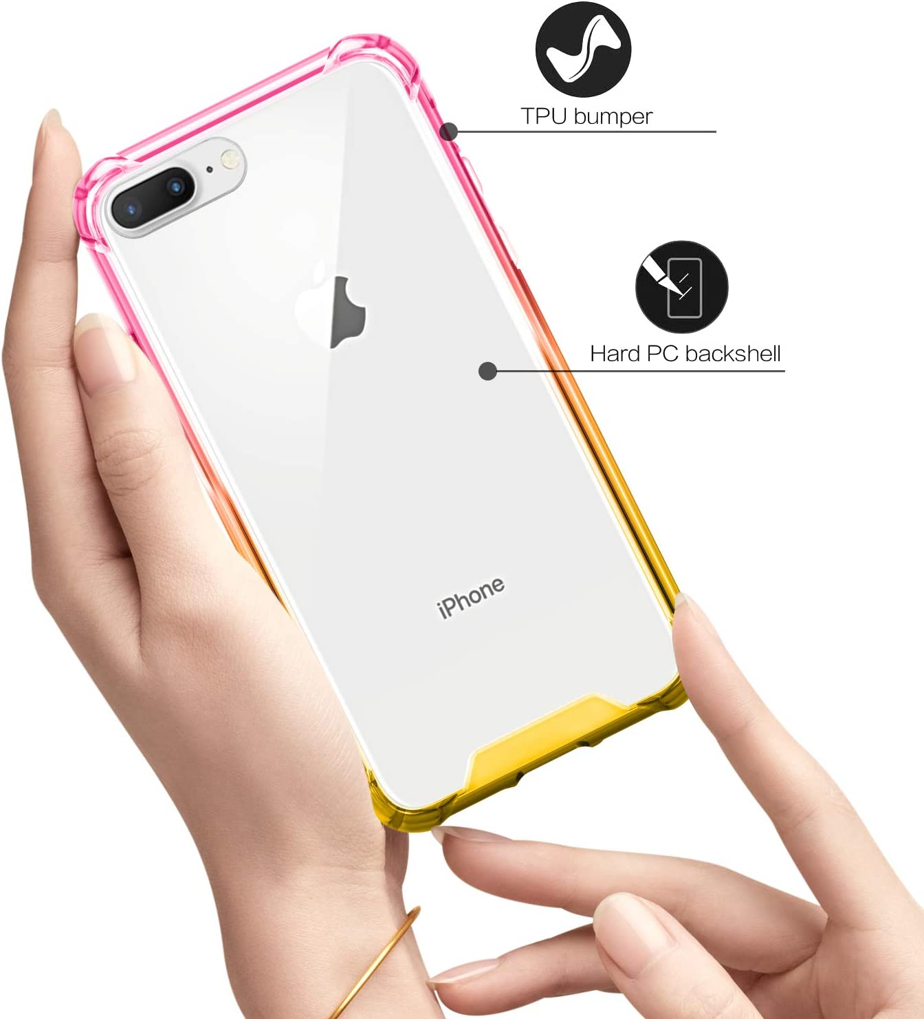 SALAWAT for iPhone 7 Plus Case, Clear iPhone 8 Plus Case Cute Anti Scratch Slim Phone Case Cover Reinforced TPU Bumper Shock Absorption Protective Case for iPhone 7/8 Plus (Pink Gold)