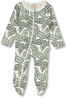 Babyushka Organic Stencil Leaf Zip Romper, 00