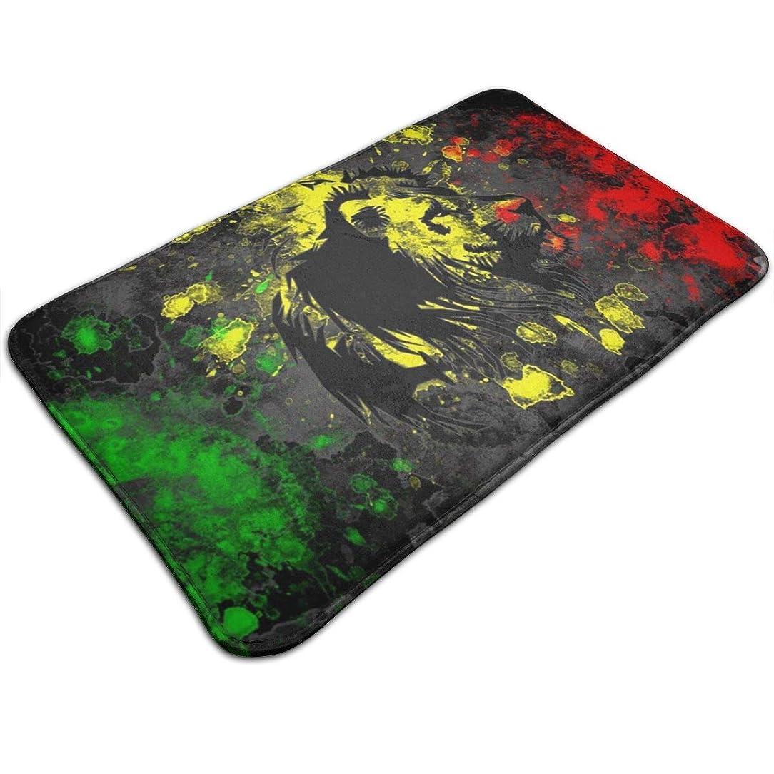 セッション浮浪者到着Absorben滑り止めバスタブマット屋内/屋外/フロントドア/家の装飾ベッドルーム/リビングルーム/ダイニングルーム/プレイルーム/キッチンに最適The Lion of Judah Rasta Rastafariジャマイカレゲエ