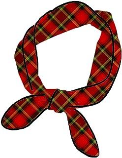 Women Black Red Tartan Handbag Handle Ribbon,Twill Skinny Scarf