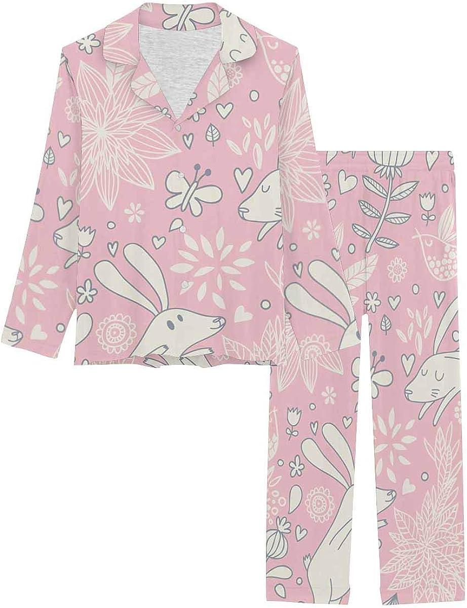 InterestPrint Women's Pajamas Set Button Down Sleepwear with Long Pants Rabbits, Butterflies and Flowers
