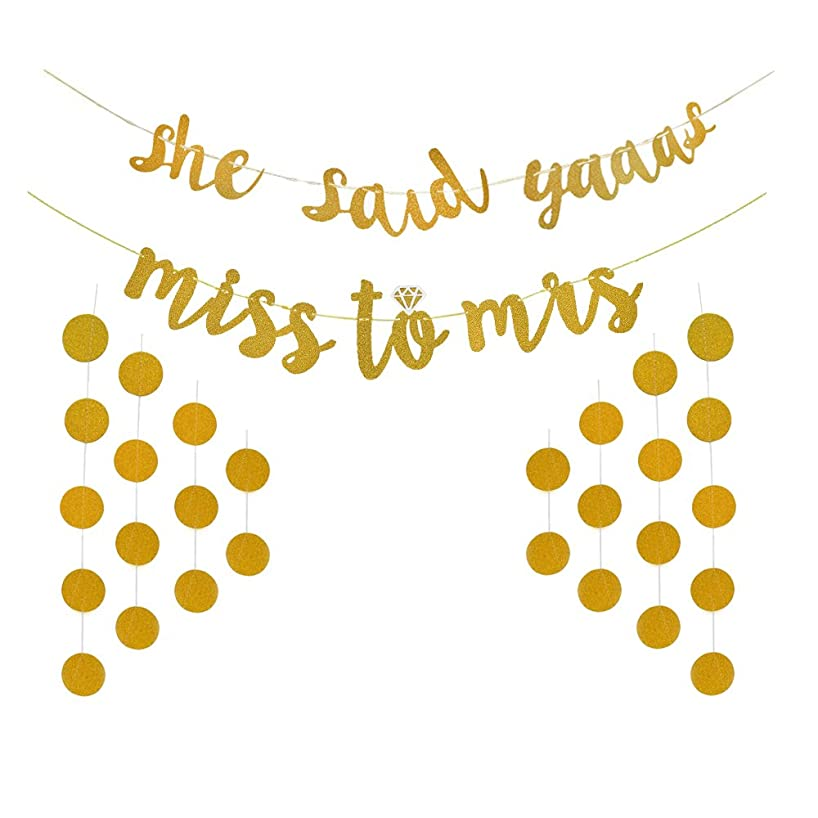 Glitter Gold Miss to Mrs She Said Yaaas Banner Polka Dot Garland Backdrop for Bridal Shower and Bachelorette Party Decoration