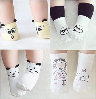 Cuca Dunna Infant Socks Baby Socks Toddler Socks For Girls And Boys,Anti Skid Socks 4 Pairs (S 0-2years, Girl)