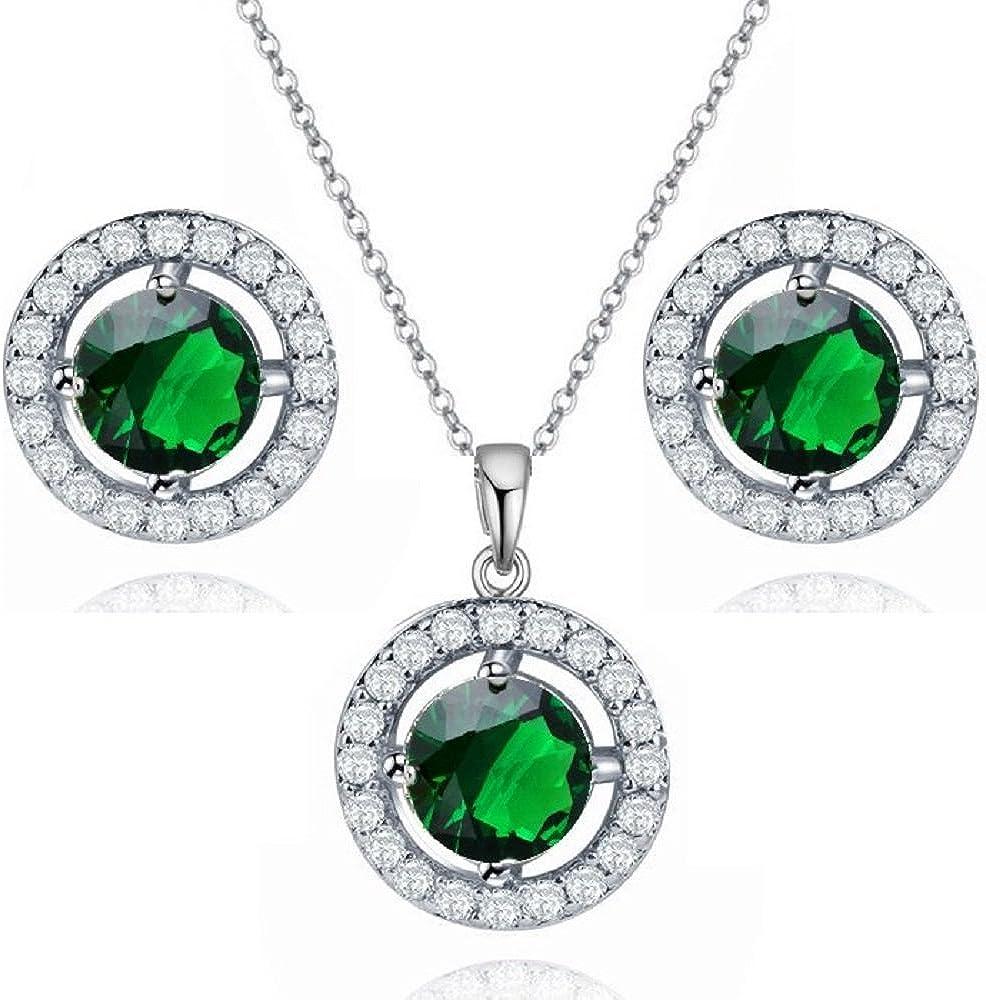 Crystalline Azuria Round Green Simulated Emerald Zirconia Crystals Set Pendant Necklace 18