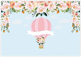 Allenjoy 7x5ft Hot Air Balloon Backdrop Up Up & Away Background Pink Baby Shower It's a Girl Newborn Floral Birthday Party Supply Dessert Candy Cake Table Decor Decoration Banner Photo Shoot Booth