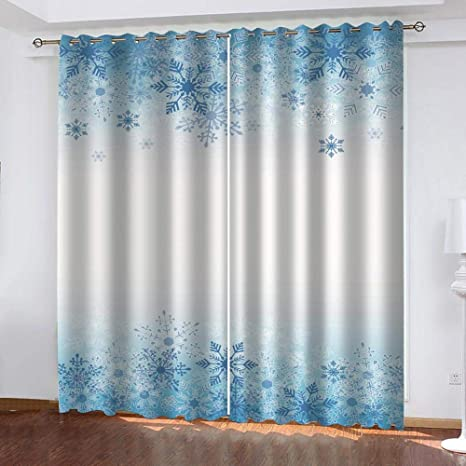 Giunuak 3D Insulated Blackout Curtains Musical Note Snowflake,Living Room Bedrooms Bathroom Kitchen Super Soft Polyester Thermal Insulated Noise Reducting Curtains 150Wx166H Cm