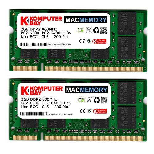 Komputerbay MACMEMORY Apple 4 GB Kit (2x 2 GB) PC2-6300 800 MHz DDR2 SODIMM voor iMac en Macbook geheugen