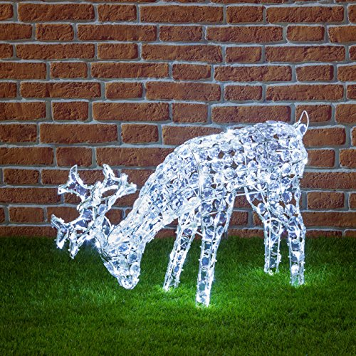 XMASKING Renna con Cristalli Che bruca l'erba, 200 LED Bianco Freddo, H 50 cm, soggetti Luminosi, Figure di Natale 3D, Decorazioni Natalizie