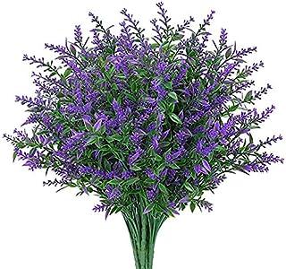 Lot de 8 Lavande Fleurs Artificielles,Romantique Flocage Bouquet de lavande Approprié Pour Salle de Home Decor Garden Part...