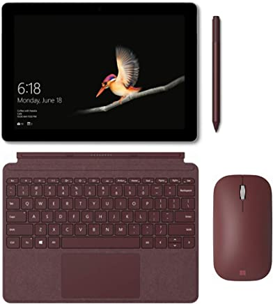 "New Microsoft Surface Go 10"" Touch Screen Intel Pentium Gold Storage with Black Type Cover, Pen and Mobile Mouse Bundle (8 GB RAM 128 GB SSD, Burgundy)"