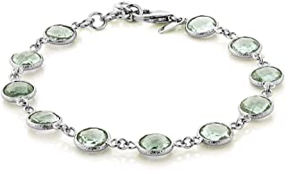 Gem Stone King 925 Sterling Silver Green Prasiolite 7 Inch Bracelet with 1 Inch ext 25.00 Cttw Round Cut