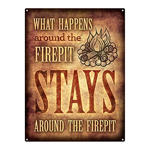 Homebody Accents  What Happens Around The Firepit 12'x16' Metal Sign, Patio, Porch, Deck