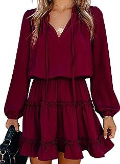 Damen Kleider Langarm Blusenkleid Elegant Sommerkleid Casual Tunika Kleid Einfarbig Minikleid V-Ausschnitt Flowy Kleid mit Kordelzug
